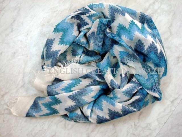 Wool Cotton/ Lurex blended jacquard scarves - Wool Cotton/ Lurex blended jacquard Scarves