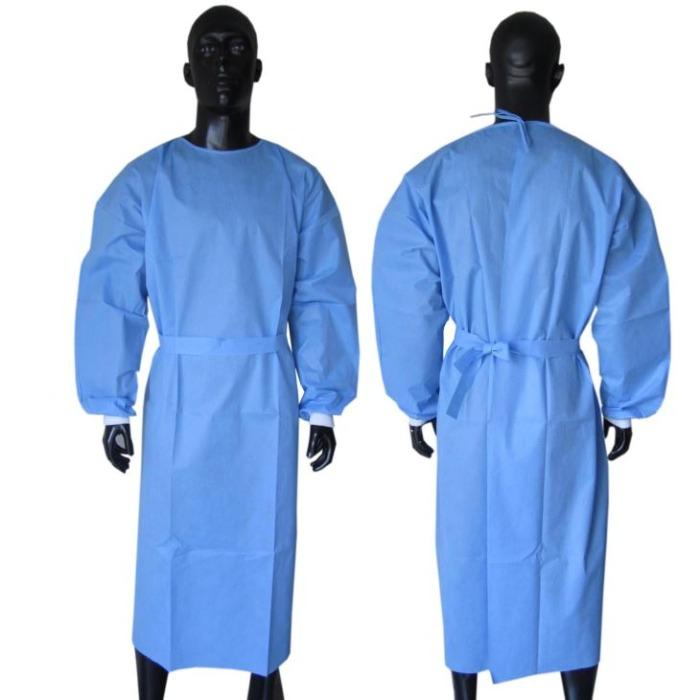 Cheaper Hospital Medical Disposable isolation Gown - SS SMS materials ,blue colour ,25 gsm ,30 gsm  cheaper surgical ,medical gowns