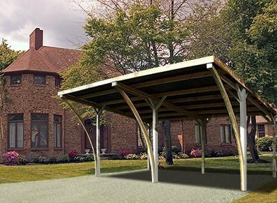 Carport double en bois - Avec arcs