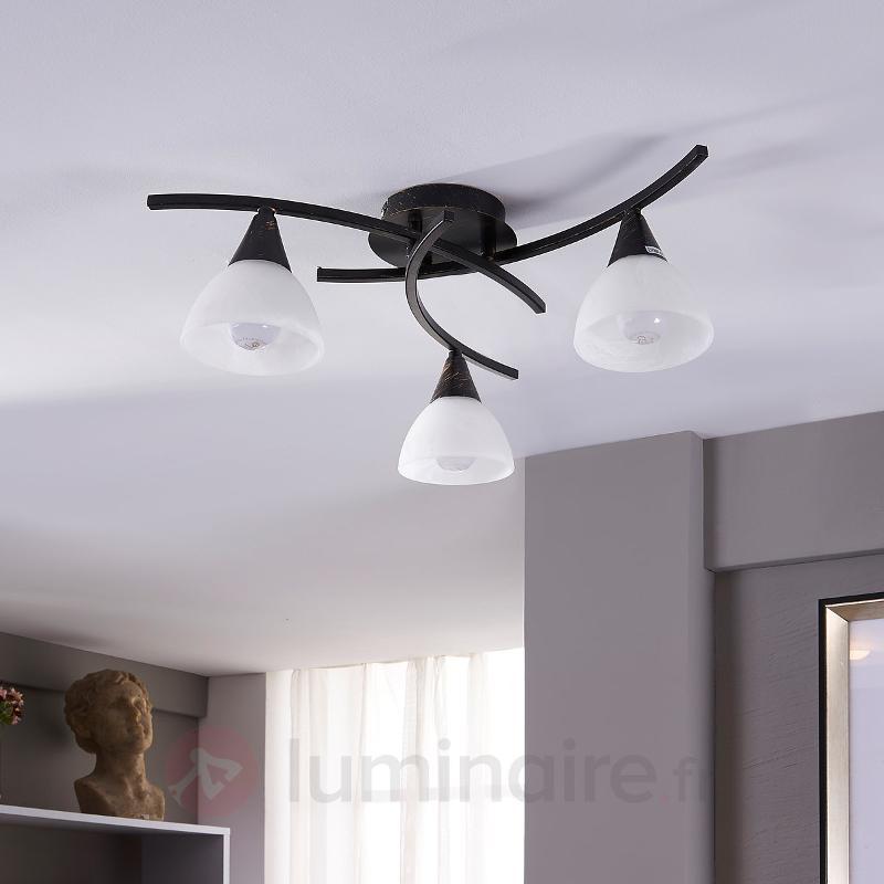 Plafonnier LED à trois lampes Della, noir et or - Plafonniers LED