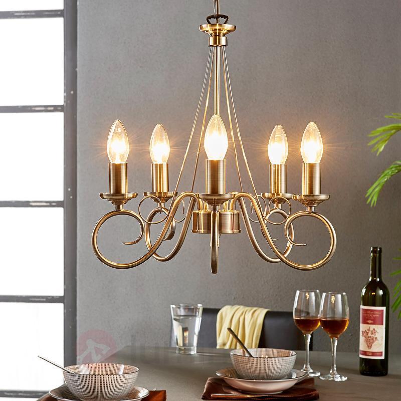 Élégant lustre Marnia en laiton ancien, 5 lampes - Lustres classiques,antiques