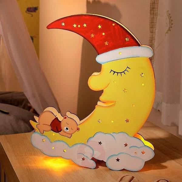 Child-friendly LED wooden moon with sleeping bear - Table Lamps