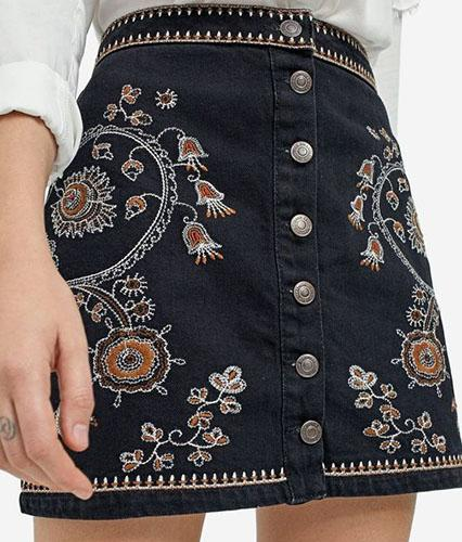 embroidered denim skirt - thread embroidery
