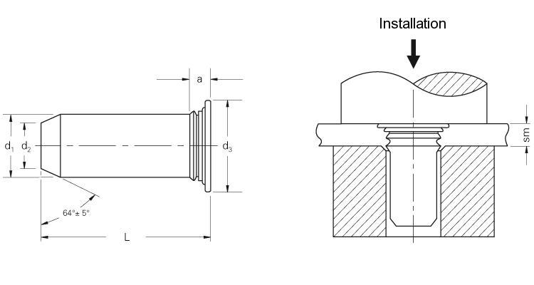 Self-clinching fasteners - PEM® - Self-clinching pilot pins Type TPS