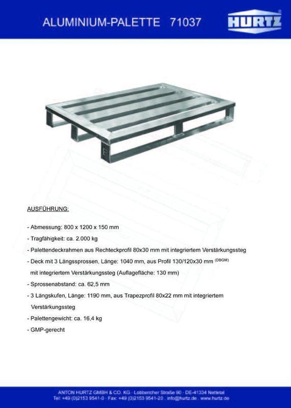 Typ 71037 - Hurtz Aluminiumpaletten - Euroformat