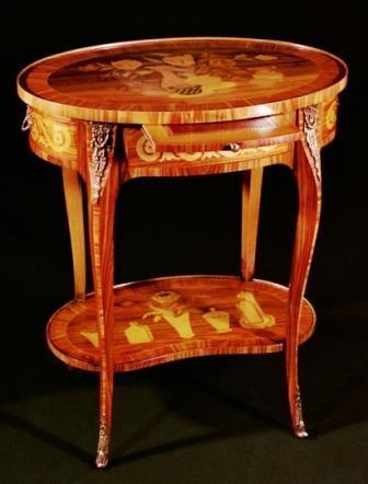 Tavolino Intarsiato In Stile Luigi XV