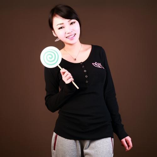 Wholesale custom long sleeve printed rib t shirt women - Anti-Pilling, Anti-Shrink, Anti-Wrinkle, Breathable, Eco-Friendly, Plus Size