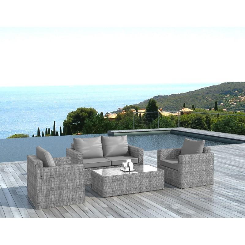 Salon de jardin 4 places JUAN en résine tressée (gris) - Ce salon de jardin design est contemporain est d'un très grand confort.