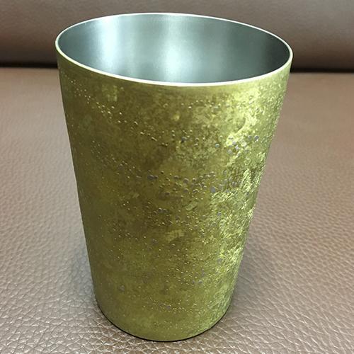 Titanium Mug - Pure Titanium, Coarse grain anodizing  Double Cup,70x105mm, 380ml