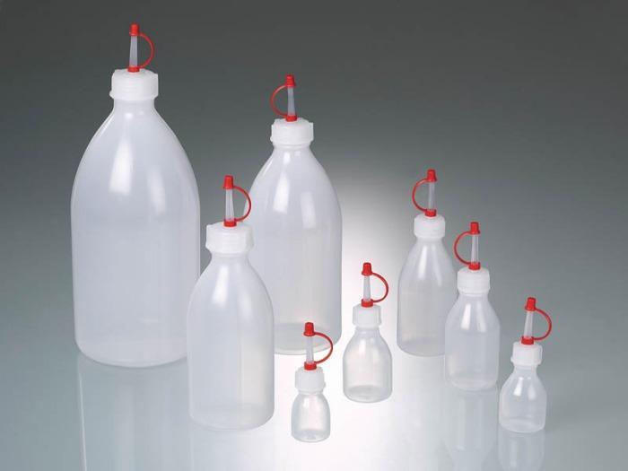 Flacons compte-gouttes - Bouteille en plastique, LDPE, capuchon captif et compte-gouttes PE