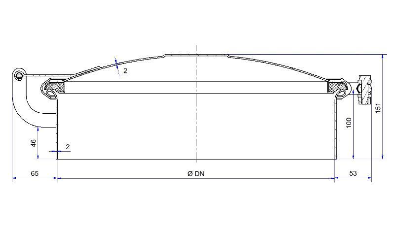 Trappe ronde à clamp - Trappe de dôme à clamp, joint sur couvercle - H08-200-80 à H08-600-80
