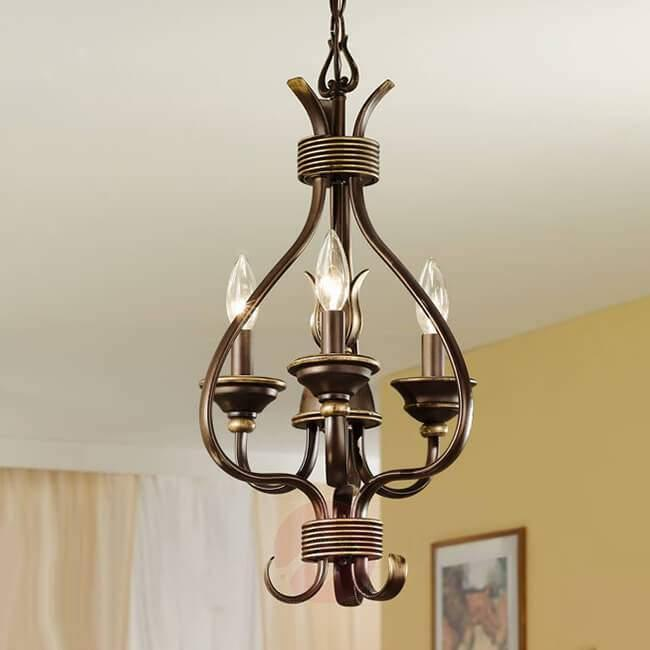 3-bulb chandelier Buckingham, 30 cm - Chandeliers