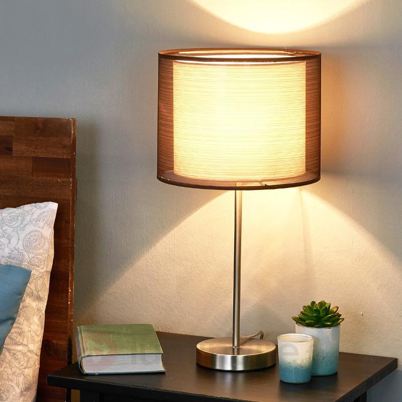 Lampe à poser Nica avec abat-jour textile brun - Lampes à poser en tissu