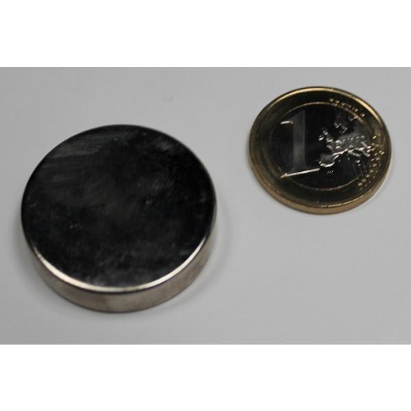 Neodymium disc magnet 30x7mm, N45, Ni-Cu-Ni, Nickel... - Disc