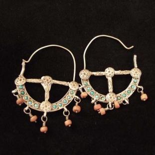 Boucles d'oreilles - Argent, coraux, turquoises, Inde