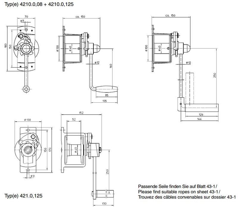 Treuils manuels - Treuil manuel à câble 80kg et 125kg