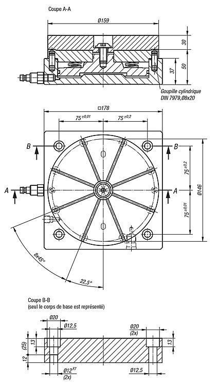 Mandrin de serrage de formes sur embase - Mandrin de serrage de formes