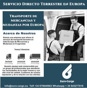 transporte direto em vans em toda a Europa - Partidas de Espanha e Portugal