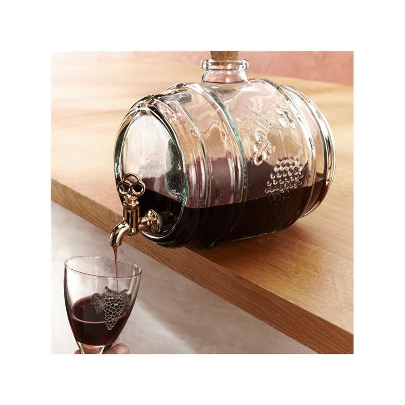 Tonneau en verre 2 litres, verre 100% recyclé avec robinet - Bonbonnes et bonbonnières
