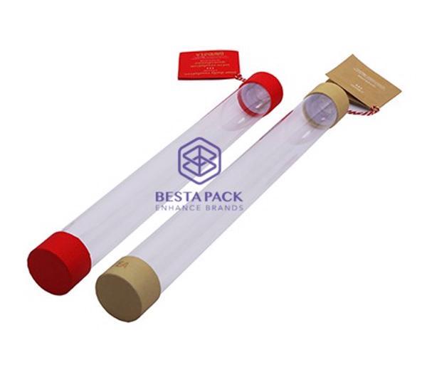 Tubo di carta - Tubo di carta con cilindro trasparente, tappi in PET e etichetta di sospensione