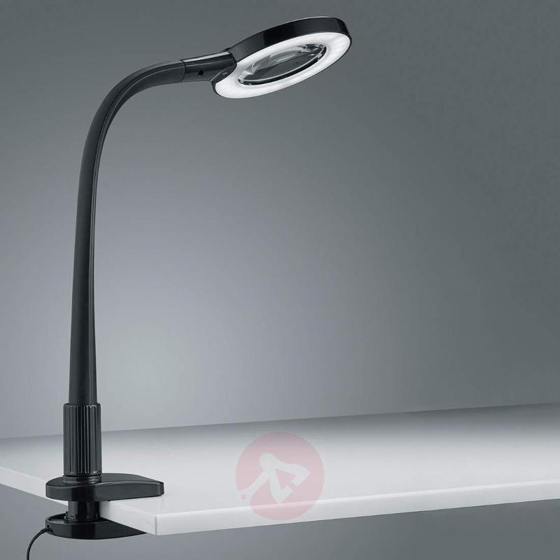 Magnifying glass LED clip lamp Lupo in black - Table Lamps