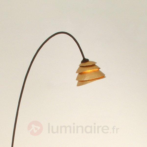 Gracieux lampadaire SNAIL 1 amp. fer, brun et doré - Lampadaires design