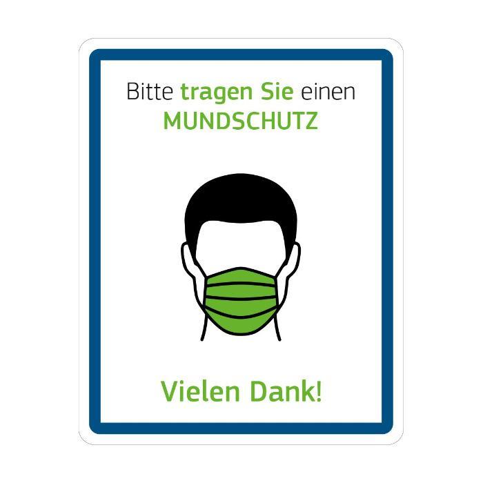 Hinweisschild - Bitte Mundschutz tragen - Größe: 20 (B) x 25 (H) cm viels. einsetzbar auch für den Außenbereich geignet