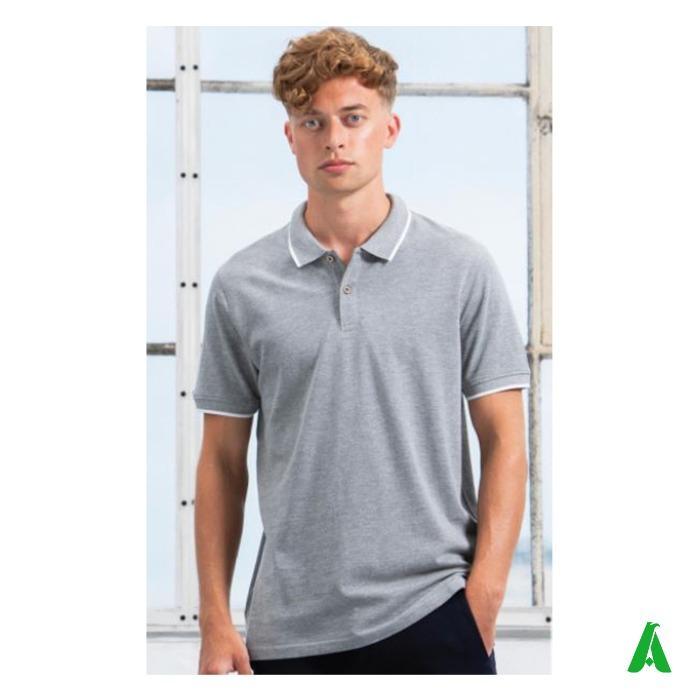Polo 100% cotone organico per uomo con profili tipped - Polo tipped in elegante tessuto cotone organico di alta qualita', per uomo.
