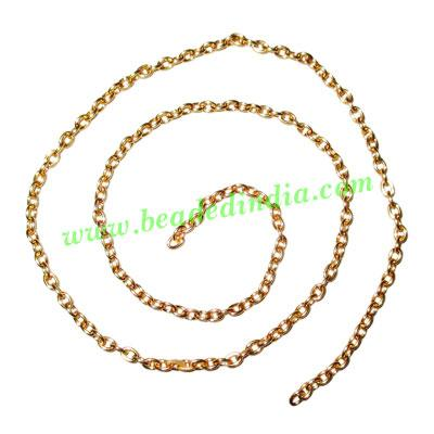 Gold Plated Metal Chain, size: 0.5x2.5mm, approx 75.4 meters - Gold Plated Metal Chain, size: 0.5x2.5mm, approx 75.4 meters in a Kg.