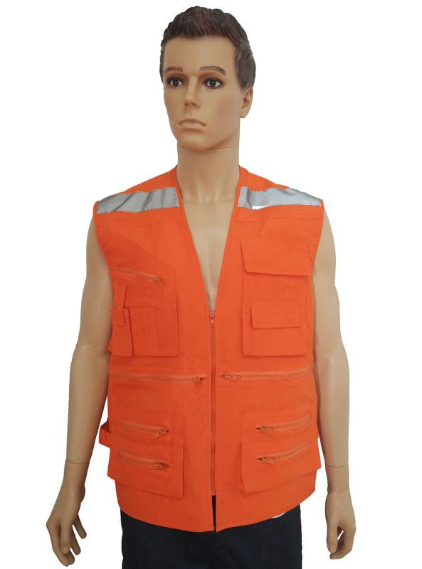 vest with zippers,reflective tapes on shoulders and back of the vest - VEST-001