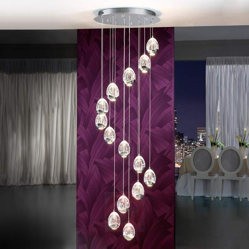 14-light LED hanging light Rocio in chrome finish - Pendant Lighting