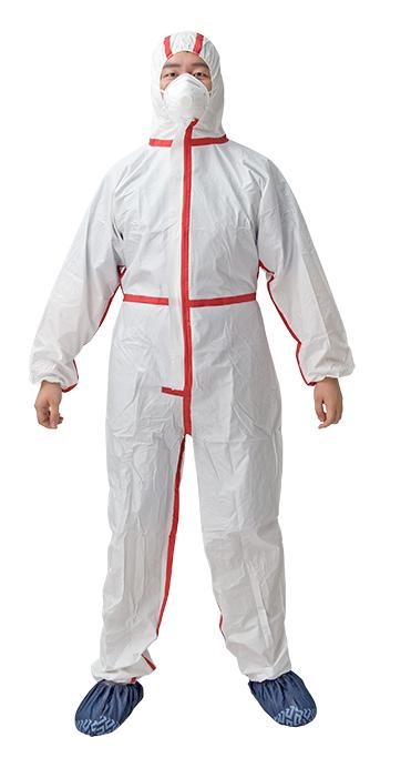 Microporous film Coverall with Strip - Material:PP non-woven or SMS + SF