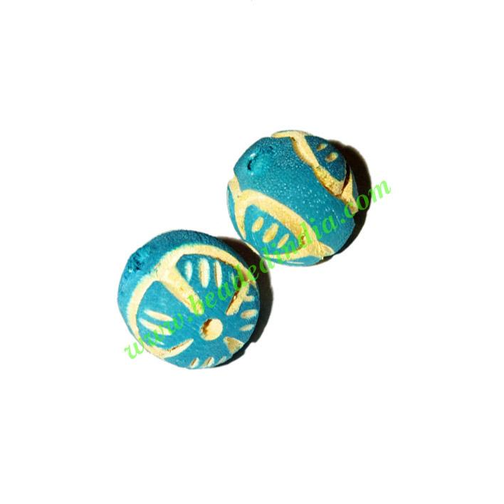 Wooden Carved Beads, size 18mm, weight approx 2.3 grams - Wooden Carved Beads, size 18mm, weight approx 2.3 grams