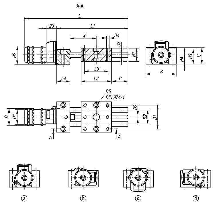 Table de positionnement courte avec indicateur de position - Système de positionnement