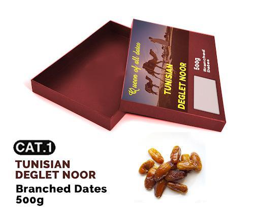 Branched Dates  - Dates Deglet Nour of Tunisia , 500 gr in carton box