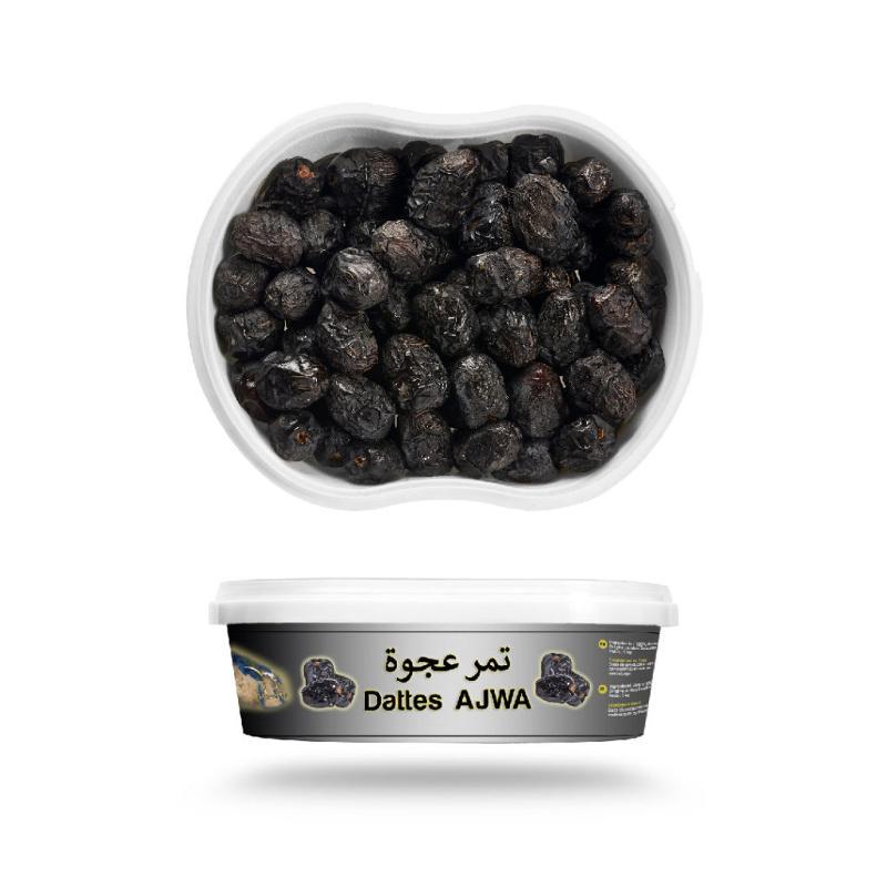 Ajwa Madinah Fraîche 1 kg - Routab Gros calibre boîte hermétique imprimée.