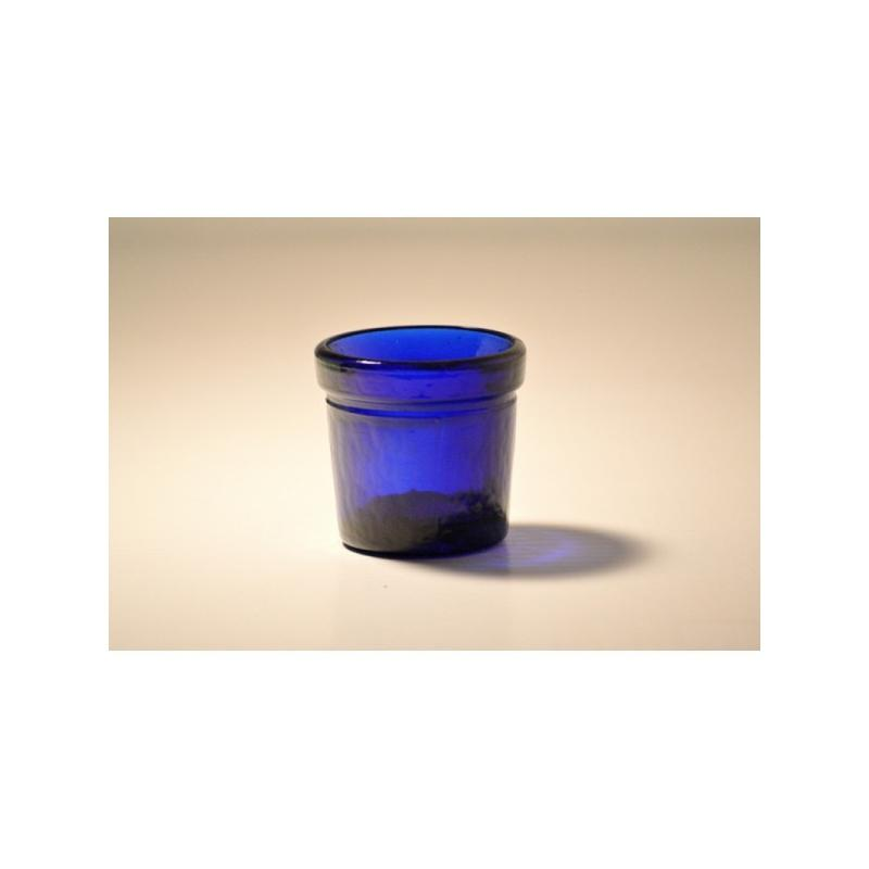 Lot de 6 photophores ROUND VOTIVE Bleus en verre 100% recyclé - Mini bocaux