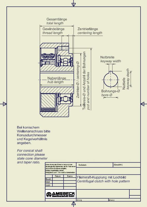 Fliehkraft-Kupplung mit Lochbild - Fliehkraft-Kupplung mit Lochbild