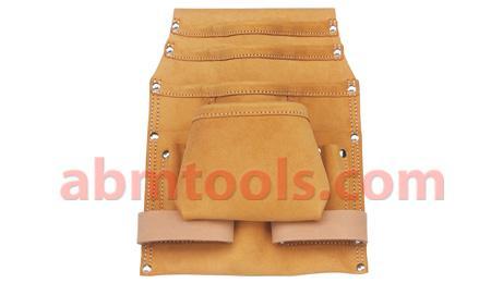 10 Pocket Split Leather Carpenter Nail & Tool Bag - Double stitched & rivet reinforced