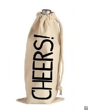 Printed Cotton Wine Drawstring Bags - Printed Cotton Wine Drawstring Bags, Customized Canvas Bottle Shopping Bags