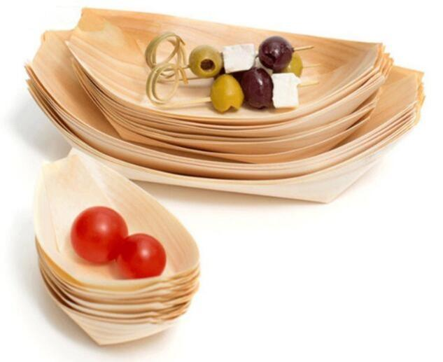 Disposable food container - disposable wood boat for food