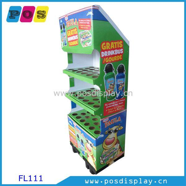 Pop Corrugated Cardboard Display Shelf Rack - Euro Quarter pallet four shelf floor display stand for bottles sale