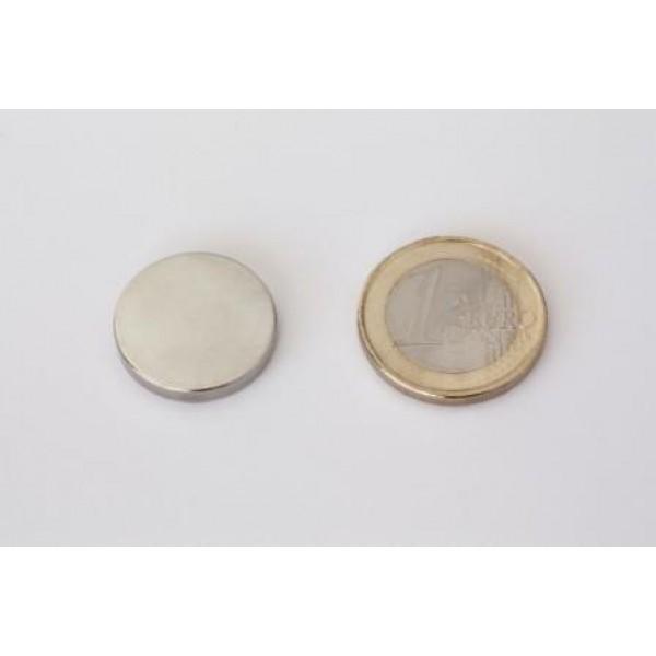 Neodymium disc magnet 20x3mm, N45, Ni-Cu-Ni, Nickel coated - Disc