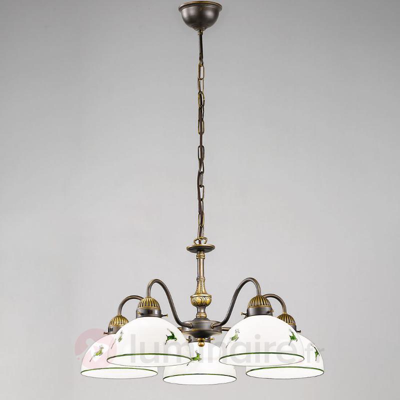 Lustre à 5 lampes Nonna blanc vert - Suspensions rustiques