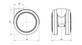 """Reinforced copolymer Die-cast zamak hood """"H"""" type hard - CASTOR EMI Ø mm. 65 """"GEMIOPEN"""" + """"ADAPTO""""®"""