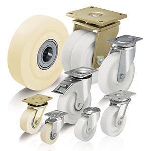 Ruote e ruote con supporto per alte portate in poliammide -