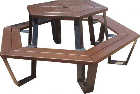 Table Pique Nique Plastique Recyclée Hexagonale - Tables De Pique-Nique