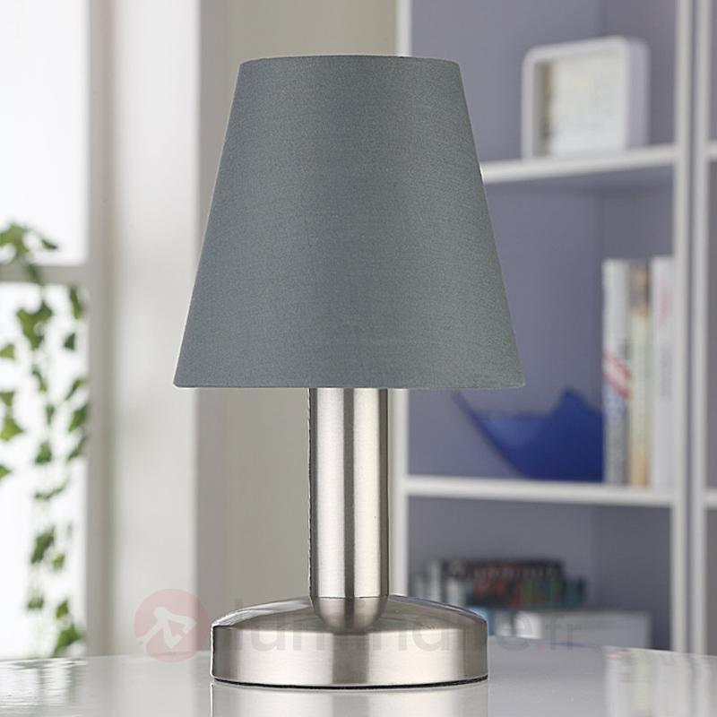 Lampe de chevet grise Hanno abat-jour en tissu - Lampes à poser en tissu