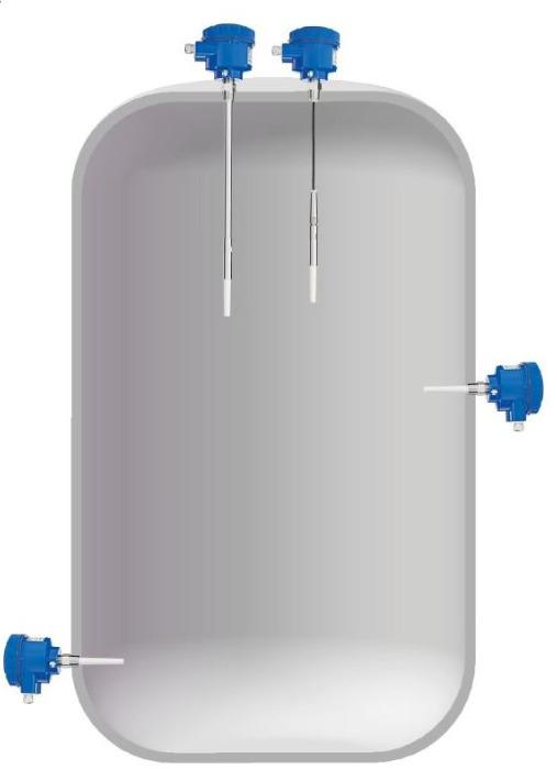 Chave de nível Capanivo® CN 8000 - Detecção de limite de nível em líquidos, lamas, espumas, interfaces e sólidos.