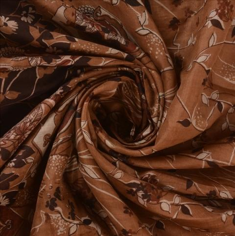 100% Pure Silk Printed Sari - Antique Vintage 100% Pure Silk Saree Brown Printed Sari Craft Fabric 5 Yard